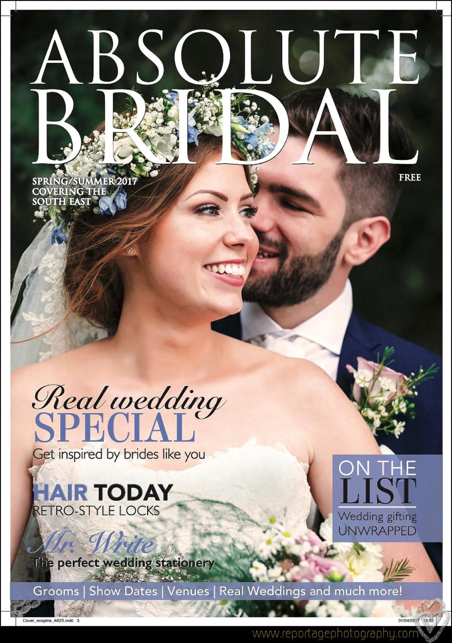 Wedding photographer at Mulberry House Gavin Woollard magazine cover for Absolute Bridal